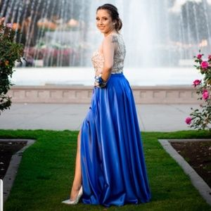 Two-piece beaded royal blue prom/formal dress